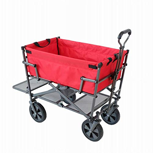 - Mac Sports Heavy Duty Steel Double Decker Collapsible Yard Cart Wagon, Red