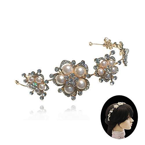 Earofcorn Classical Butterfly Flowers Rhinestone Pearl Handmade Headband Headwear Headdress Golden Hair Hoop Crown Wedding Tiara Glam Hair Vine Jewelry Accessories (AL-FD-3) ()