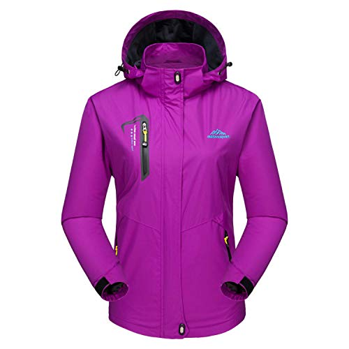Ski Jacket Women with Pockets Softshell Jacket Women Waterproof Jacket with Liner Outdoor Coat Purple