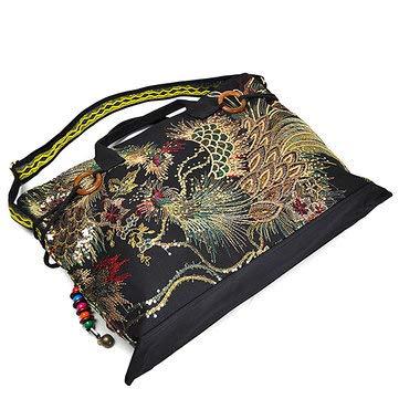 Black Women Peacock Canvas Tote Handbag Chinese National Shoulder Crossbody Bag Womens Bags Crossbody Bags
