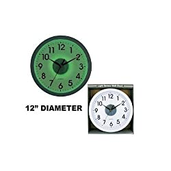 JUMBL™ Wall Clock With Light Sensor Black and White 12