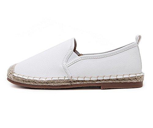 y de planos redonda con punta planos blancos punta redonda sólidos uretano mujer 1TO9 para Zapatos qE850