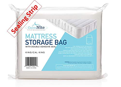 Extra Thick Mattress Storage Bags with Adhesive Seal for Moving and Storing - Clear 4 MIL Plastic - Protects Bedding and Furniture from Moisture, Dirt, Bugs and Pests - 94 x 96 King, California King ()