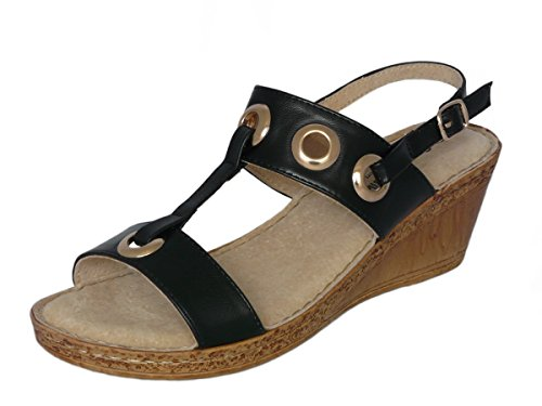 Cushion Walk Ladies Leather Lined Wedge Peep Toe Strappy Summer Sandals Size 3-8 Style 2: Black 4VdljCan