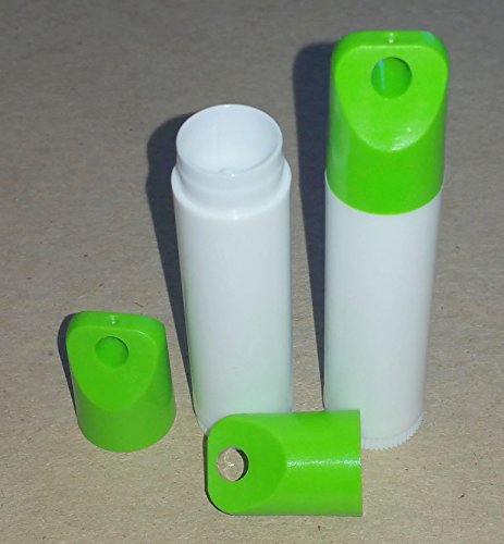 50 NEW Empty WHITE Lip Balm Chapstick Tubes Containers WITH GREEN LANYARD CAPS -.15 oz / 5 ml Tubes & Caps DIY Make your Own ()