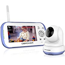 DBPOWER Digital Sound Activated Video Record Baby Monitor with 4.3-Inch Color LCD Screen, Remote Camera Pan-Tilt-Zoom, Lullaby, Night Vision, Two Way Audio and Recording, Compatible Mount Shelf