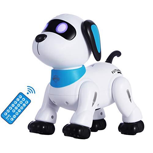 원격 제어 로봇 개 장난감 프로그래밍 가능한 상호 작용 및 스마트 로봇 춤에 대한 아이들 5 최대 RC STUNT 강아지 장난감과 사운드 LED 눈 전자 애완 동물 장난감 로봇 개 아이를 위한 선물