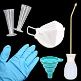 Set of 14 Pest Control Bulb Duster Sprayer Kit Include Blue Silicone Folding Funnel,100ML Triangular Measuring Cup,Safety Dust Mask,Disposable Latex Waterproof Gloves