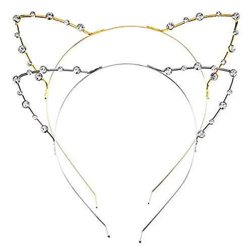 HONBAY 2pcs Cute Lovely Metal Rhinestone Cat Ear Headwear Hair Bands Headbands Head Hoop Clasps ()