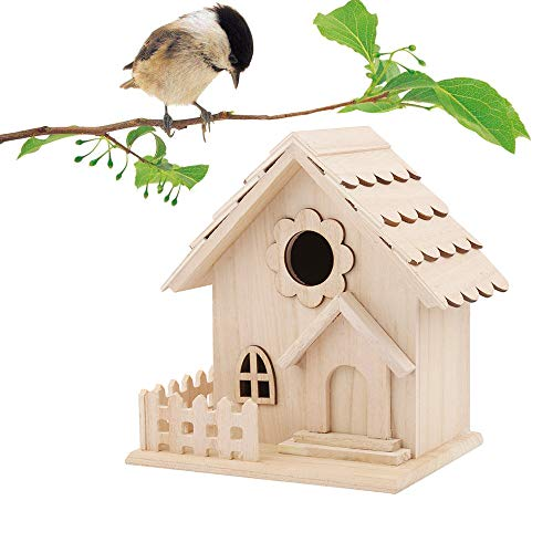 SUJING Wood Bird House, Retro Arts and Crafts Country Cottages Bird House, Woodland Cabin Birdhouse Outdoor Decor and Interior Wooden House Decor