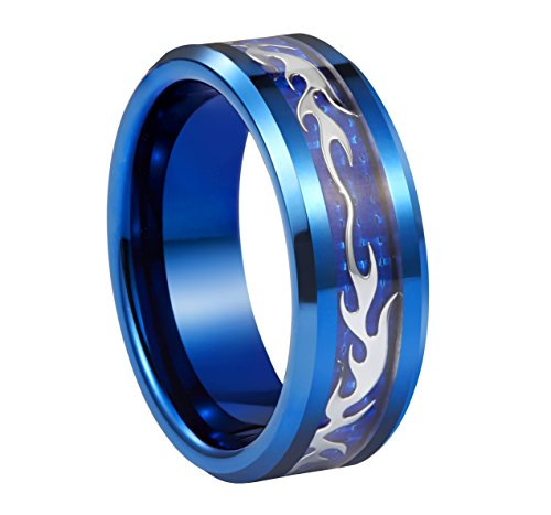 8mm Mens Wedding Bands Silver Bats Trendy Stylish Blue Tungsten Promise Couples Ring for Anniversary - Me Tiffany Near Co &