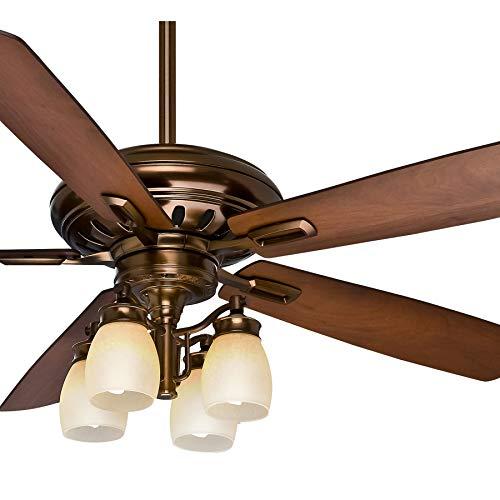 - Casablanca Fan 60 inch Bronze Patina Finish Ceiling Fan with Amber Rain Glass Light Kit