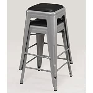 Amazon Com Tabouret 24 Inch Padded Metal Counter Stool