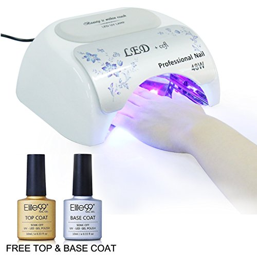 Elite99 Nail Lamp 48W LED UV Nail Dryer Light with Base Coat Top Coat 10ml,Nail Art Automatic 3 Timer Modes US Plug, Suitable for Hands and Feet Manicure Tool (LAMP004-48W)