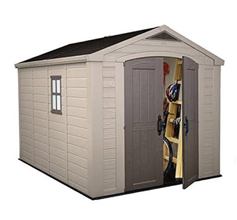 Keter Factor - Cobertizo de plástico de alta densidad para jardín (243, 8 x 335, 3 cm) Espacio de almacenamiento para exteriores con puerta doble.