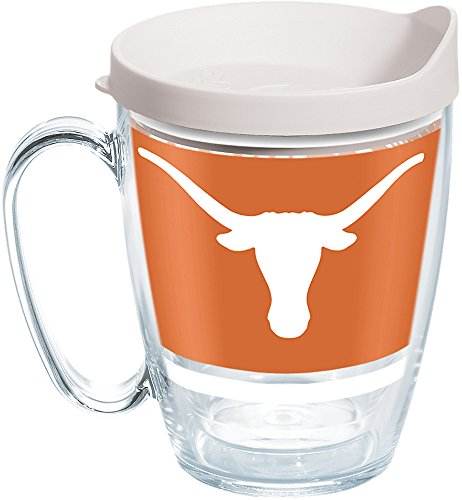 Longhorn Coffee Mug - Tervis 1257469 NCAA Texas Longhorns Legend Coffee Mug with Lid, 16 oz, Clear