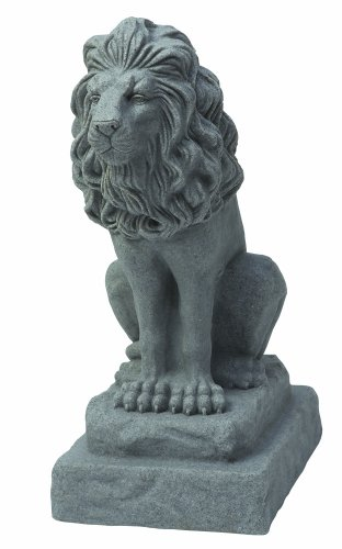 (EMSCO Group Guardian Lion Statue - Natural Granite Appearance - Made of Resin - Lightweight - 28