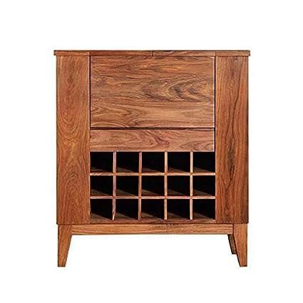 Ringabell Solid Wood Scotch Bar Cabinet (Teak Finish)
