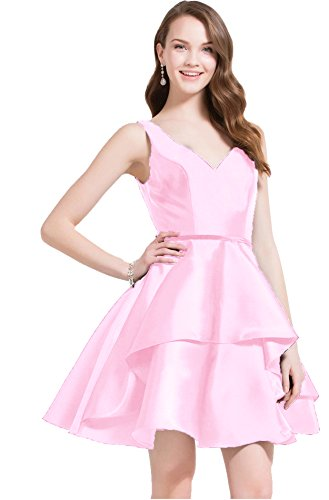 Gowns Short Neck Womens Pink Homecoming Beauty Party Evening Prom V Dresses Bridal Satin qOp1fPx