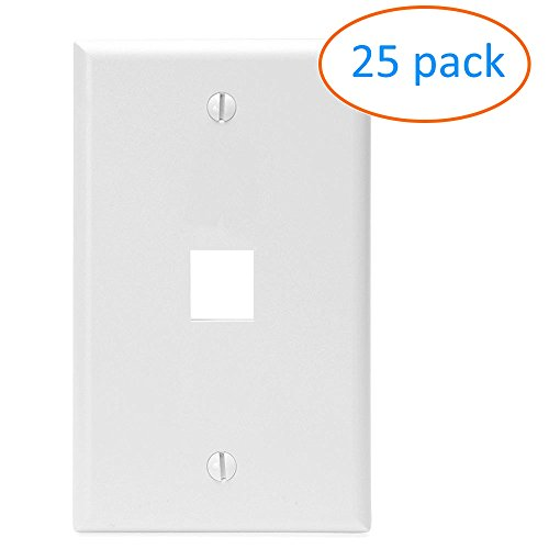 Kenuco White Keystone Wall Plate | Pack of 25 | 1 Port - Port Keystone Jack Wall Plate