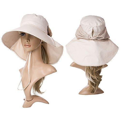 Siggi Womens Wide Brim Summer Sun Flap Bill Cap Cotton Hat Neck Cover UPF 50 + 09fe36cf40bd