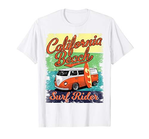- California Beach Surf Rider Hippie Van Bus Surfboard Surfing T-Shirt