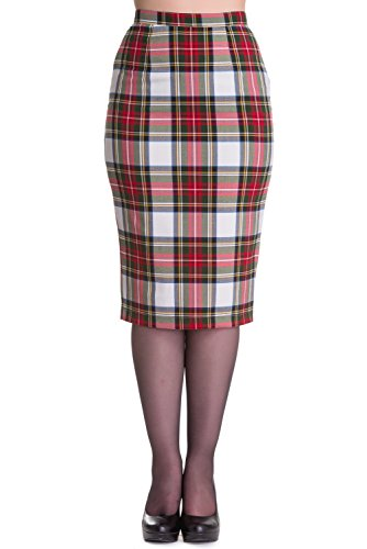 (Hell Bunny Jodie Tartan Pencil Wiggle Skirt (S - US 6, White & Red))
