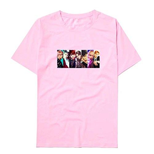 Kurzärmelig A Sommer Unisex Rundhals Bts Shirt Kpop Rosa