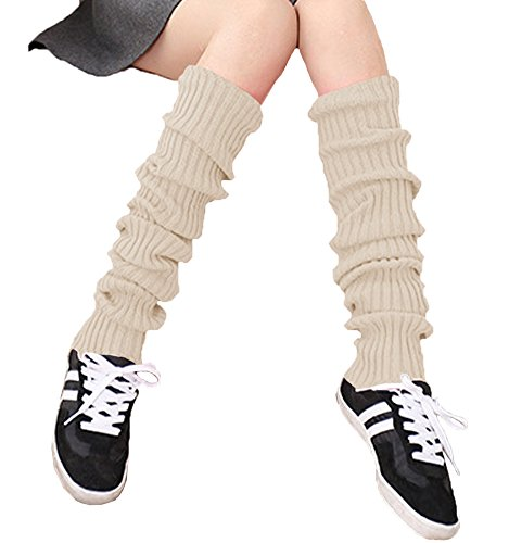 Legs Beige - Urban CoCo Women's Winter Knee High Footless Socks Knit Crochet Leg Warmer (Beige)
