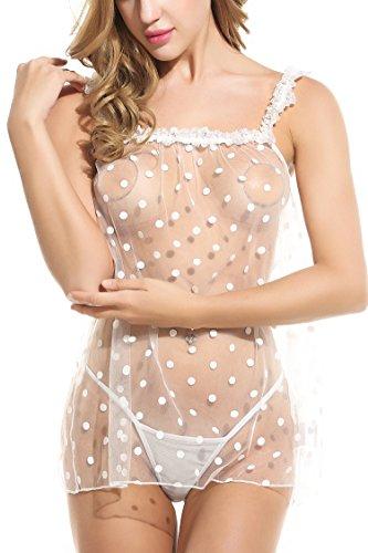 Avidlove Dot &Strap Sexy Babydoll Chemise Mini Dress Lingerie For Women