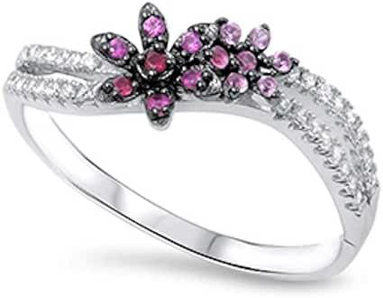 Flower Simulated Ruby & Cubic Zirconia .925 Sterling Silver Ring Sizes 5-11