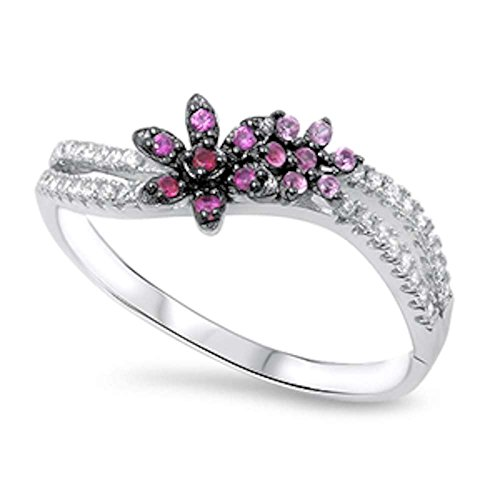 Flower Simulated Ruby & Simulated Pink Sapphire .925 Sterling Silver Ring Sizes - Flower Ring Pink Sapphire