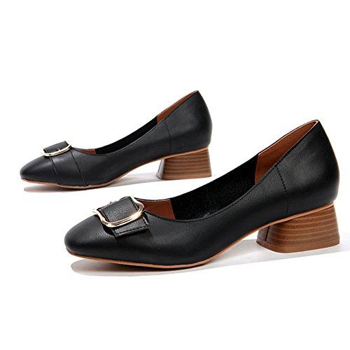 zapatos Cuadrada verano Inglaterra tacones Señora retro Mediados viento A De Cabeza Nude asakuchi zapatos anxn7BR