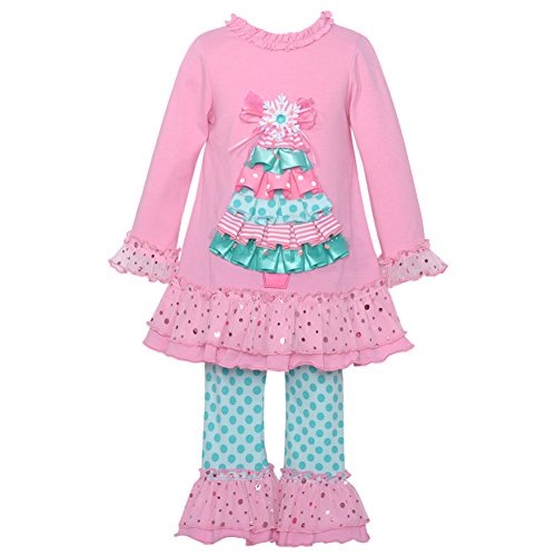 Editions Pink Capris Rare (Rare Editions Little Girls Pink Christmas Tree Applique 2 Pc Legging Set 3T)