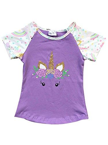 (Little Girl Kids Short Sleeve Unicorn Floral Cotton Shirt Top Tee T-Shirt Lilac 8 XXXL (201343))