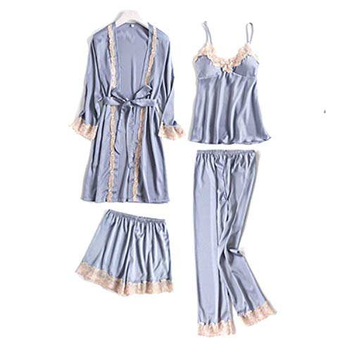 (Four Pieces Women's Bathrobe Tops Short Pants Long Pants Pajamas Sets Patchwork Sleepwear,XL,GreySet)