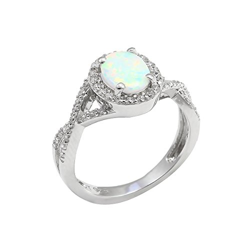 Twisted Shank Ring (Oval Lab Created White Opal Halo Ring Round Clear CZ Twisted Infinity Shank 925 Sterling Silver)