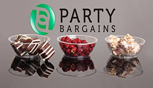Party Bargains Hard Plastic 6 Ounce Clear Dessert Bowls, Pack of 50