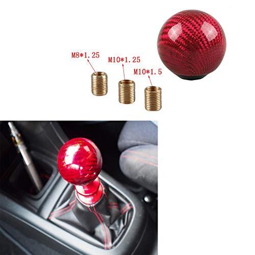 - ZysQkb Ball Shift Knob Adapter kit Universal Car Gear Shifter Lever Round Ball Shape Carbon Fiber (Red)