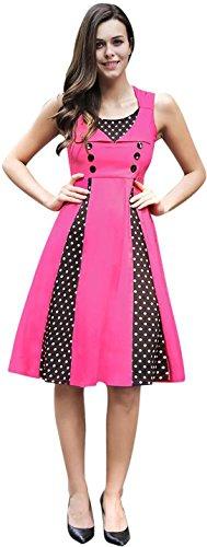 Jeansian Mujer Verano Sin Mangas Ladies Casual Costuras Elegante Slim A Line Vestido WHS418 RoseRed