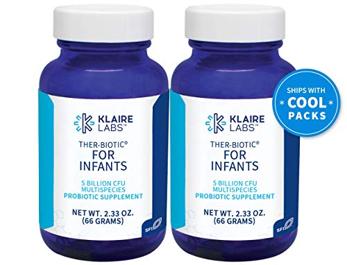Klaire Labs Ther-Biotic for Infants Probiotic Powder - 5 Billion CFU, Hypoallergenic for Baby & Mixes Well with Formula, Breast Milk & Food for Safe GI & Immune Support (60 G / 2 Pack)