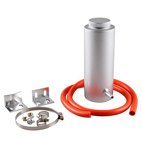 Aluminum Coolant Overflow Tank - Ryanstar 800ml Racing Radiator Coolant Overflow Billet Aluminum Oil Catch Tank Round Oil Catch Can Reservoir Silver