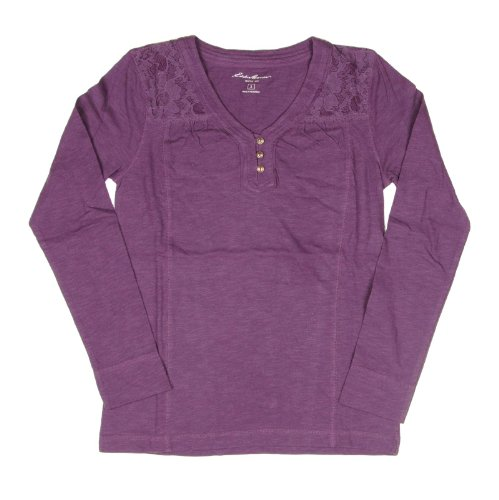 Eddie Bauer Womens Long Sleeve Lace V-Neck Henley Top Small Plum (Bauer Lace)