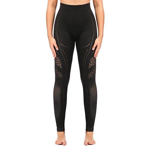 SEKERMAET Yoga Leggings High Waist, Gym Workout Tights Athletic Pants Running for Women Compression Black ()