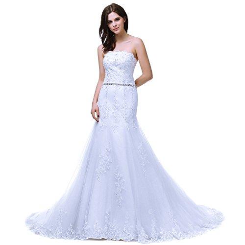 RohmBridal Women's Mermaid Lace Wedding Dress Bridal Gown White Size 24