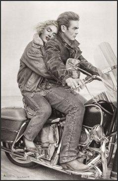 - James Dean & Marilyn Monroe (Motorcycle) 24x36 FRAMED Poster