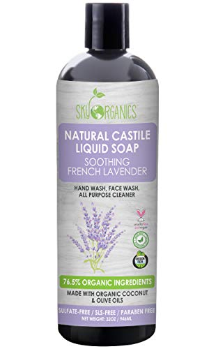 Castile Soap Organic French Lavender by Sky Organics (32oz), Plant Based Liquid Soap and All Purpose Wash, Vegan & Cruelty-Free, Lavender Essential Oils Natural Castile Soap Savon de Marseille