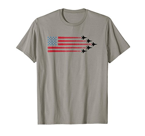 Fighter Plane Patriotic USA Flag T-Shirt For Patriots