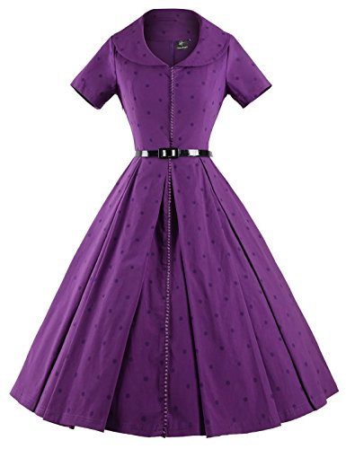 GownTown-Womens-50s-Short-Sleeves-Peter-Collared-Rockabilly-Swing-Dress