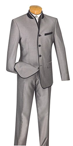 - Elegante Gentiluomo Single Breasted Slim Fit Shark Skin Trimmed Banded Collar Suit S4HT-1-Gray-48R
